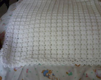 soft white baby afghan