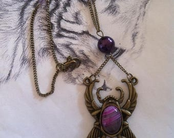 Egyptian ethnic print beetle bronze and agate necklace
