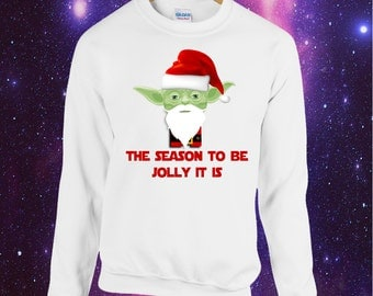 Yoda The Season To Be Jolly It Is printed Christmas Jumper Sweatshirt xmas star wars geek geeky sci-fi science fiction