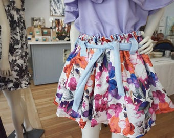 REVERSIBLE Handmade Floral Skirt! Super Stretchy - fits sizes 0-8