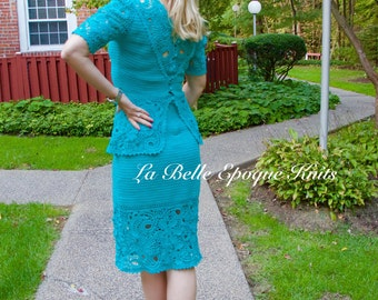 Womens Irish crochet suit, Irish lace suit, crochet dress suit, two piece suit, handmade crochet suit,
