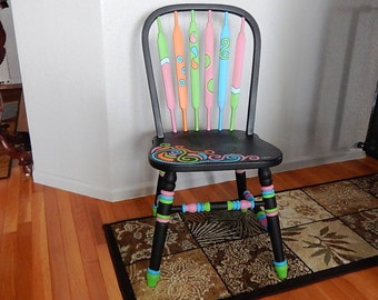 Hand painted wood chair with Mexican theme