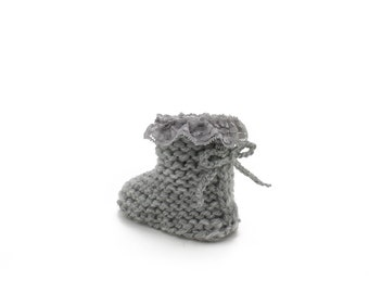 Lace Baby Booties / Knitted Baby Booties / Grey Knitted Booties / Newborn Girl Shoes / Baby Girl Booties / Baby Shower Gift