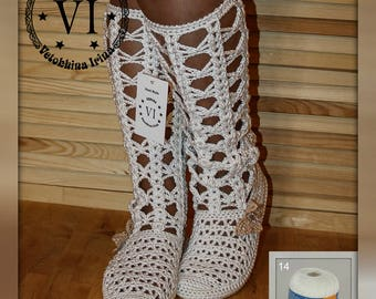 Boots are female/ Boots are summer knitted/  Footwear to order/ Summer footwear/ Women's boots/ knitted boots/Handmade to Order