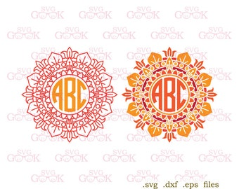 Mandala Monogram Frame SVG cut files, Mandala svg cut files for use with Silhouette, Cricut and other Vinyl Cutters, digital cut file