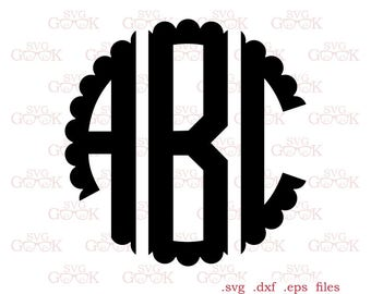 Scalloped Monogram Font SVG files, Circle Monogram Font svg, Scalloped Letters svg, Scalloped alphabet, cut files for Cricut and Silhouette