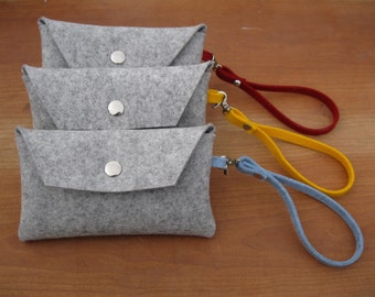 Wool Felt Mini Clutch - 100% Wool, with Nickel hardware. Phone case, Mini Pouch, Small Bag to Carry Phone, Wallet, Essentials. Gray Felt.