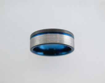 Brushed Black and Silver* Two-ToneTungsten Carbide Unisex Band with Blue Stripe & Inlay, Mens Ring, 8mm Tungsten Ring, Wedding, Womens Ring
