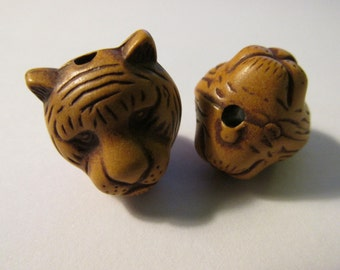 "Carved Resin Tiger Beads, 3/4"", Set of 2"
