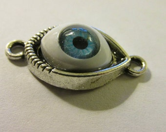 "Baby Blue ""Evil Eye"" Charm Connector, 1"", Set of 3"
