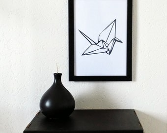 """Printed poster """"Crane Origami"""", wall decoration. Illustrated and created by pretty Mess"""