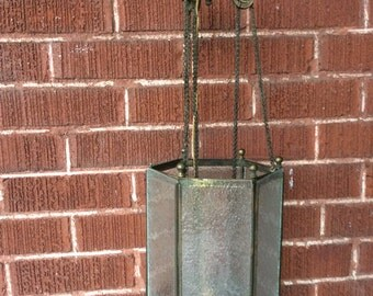 Antique Vintage L & LWMC brass hall ceiling fixture lamp with pull down chain