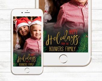 Christmas Snapchat Geofilter, Holiday Snapchat Geofilter, Happy Holidays, Merry Christmas, Holiday party Custom Snapchat Geofilter Christmas