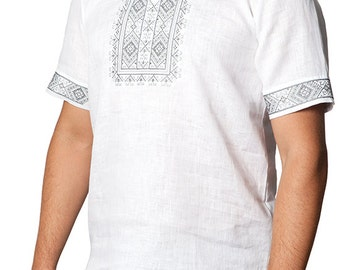 White linen men's vyshyvanka shirt. Ukrainian traditional clothing. Embroidered men's shirt. Ethic style. In stock S-3XL. Free shipping