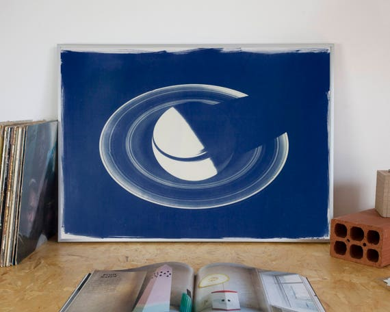 Saturn Planet with Rings, Large Cyanotype Print on Watercolor Paper, Wall Art 50x70 cm