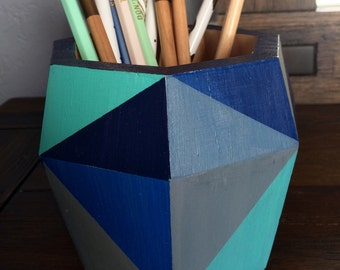 Blue pencil holder, wood planter, storage container for office or desk, great gift, mid-century