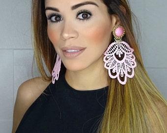 Pink Blush Earrings, Big Dangle Earrings, Chandelier Earrings, Long Lace Earrings, Handmade Earrings, Jewelry designs, Statement Earrings