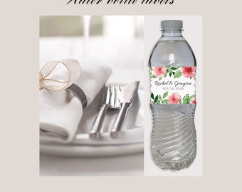 Floral Wedding Printable Water Bottle Labels   DIY Personalized PDF  Editable Reception Rose Garden Flowers WaterRoses water bottle   Etsy. Diy Wedding Water Bottle Labels. Home Design Ideas
