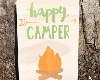 Happy Camper, wooden sign, camping, hiking, kids room, nursery, woodland, arrow, fire, rustic, outdoors,