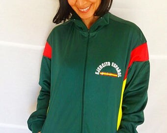 Army Zipper Jacket Army track suit jacket Spanish Army Uniform mrns athletic jacket zip up track jacket vintage 80s size S VERY RARE
