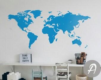 World map wall decal Vinyl Single color self adhesive peel and stick wall decor AK006