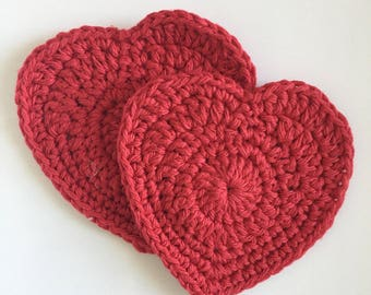 Crocheted Red Coaster Heart