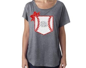 Monogram Baseball Dolman Boat Neck shirt|Glitter Monogram Baseball Pocket