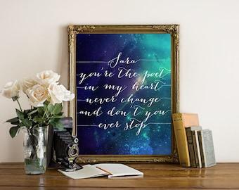 PRINTABLE Art Stevie Nicks SARA Lyrics Print, 8x10 16x20 Calligraphy Galaxy Watercolor Inspirational Poster, Fleetwood Mac Wall Art Download