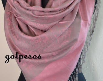 Pashmina Scarf Violet Pink, Scarf for Women Pink / Gray