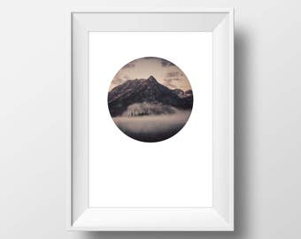 Mountain picture, Mountain poster, Landscape poster, Clouds, Abstract photo, Minimalist poster, Digital art, Download