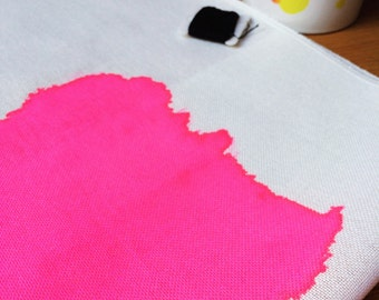 Neon Pink // Hand painted 28ct evenweave fabric // Bright Colours, One of a kind, Cross Stitch Fabric, Bright Pink, Hand painted, DIY