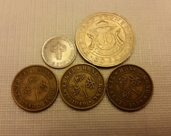 5 brunei & hong kong vintage coins 1948 - 1967  / sen cents coin lot  - world foreign collector money numismatic a16