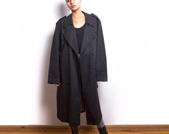 Vintage 80s Black Detective Rain Trench Coat ID:5007