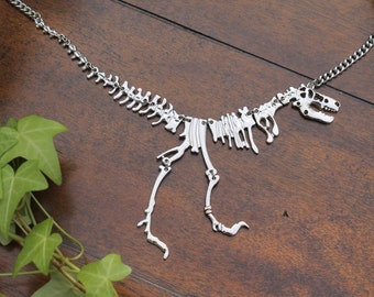 Tyrannosaurus Rex Necklace, Dinosaur Necklace, T Rex Necklace, Fossil, Unique Necklace, Silver, Jurassic Park, Jurassic World