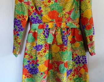 Vintage Ladies Dress, Hand made 1960s,Multicolor, size small. Vintage Clothes, Vintage dresses, Home and Living.
