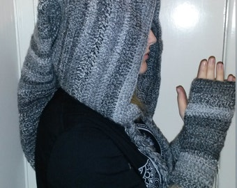 Grey crochet pixie hood and fingerless gloves.