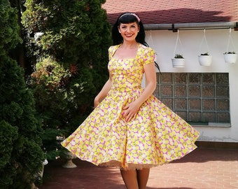 Pinup dress ' Lily dress in Lemon fun Pink' rockabilly dress