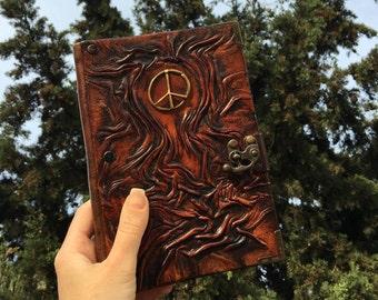 L Size Leather Journal, Leather Journal, Sketchbook, Notebook, Peace Emblem, Gift Idea