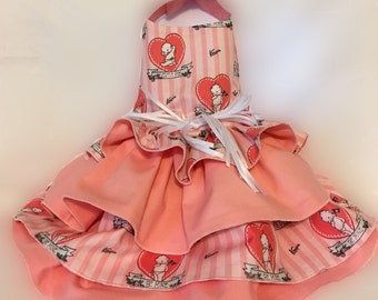 Dog Dress, Dog Clothing, Dog Apparel, Dog Valentine Dress--Cutie Pie Cupid Fabric