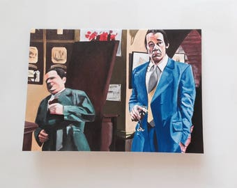 ONLY FOOLS & HORSES greeting card - vintage Del Boy falling through the bar - print of 'Nice and Cool' acrylic painting by Stephen Mahoney