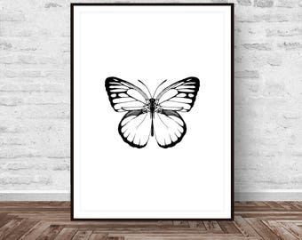 Butterfly Art, Butterfly Print, Black and White, Animal Print, Minimalist Print, Nature Print, Modern Wall Art, Instant Download