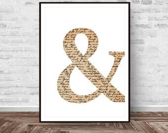 Ampersand Print, Quote Print, Vintage Decor, Ampersand Art, Printable Quotes, Vintage Wall Decor, Modern Art, Minimal Art, Instant Download