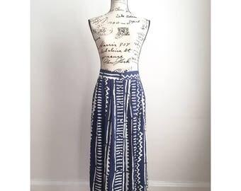 Vintage Printed Skirt, Blue White Print Skirt, Long 90s Skirt, Vintage Spring Skirt, Vintage Summer Skirt
