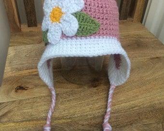Baby Crochet Flower Hat, Baby Hat, Crochet Baby Hat, Baby Girl Hat, Ear Flap Hat, Winter Hat