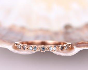 Blue Topaz Wedding Band Milgrain Topaz Wedding Ring Half Eternity Art Deco Ring Matching Band Bridal Ring Anniversary Ring 14k Rose Gold