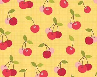 By The HALF YARD- Farm Girl by October Afternoon for Riley Blake, #C5024 Cherry Pie Yellow, Red & Pink Cherries on a Tonal Yellow Crosshatch