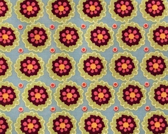 By The HALF YARD - Pink Dazzled by Danlyn Iantorno for Adornit, #T-00224 - Blue Corn Flower Scatter, Pink, Purple & Green Blossoms on Aqua