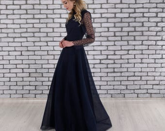 CLEARANCE SALE Navy Lace Long Sleeve Mother of the Bride Dress, Mother of the Groom Dress, Tea Length Dress, Mother of the Bride Dresses