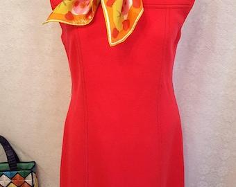 1970's Vintage Shift Dress in Striking Fire Red