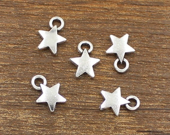 50pcs Star Charm Antique Silver Tone 9x12mm - SH290